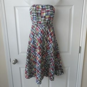 J.Crew Plaid Madras Strapless Dress Size 0 Patch
